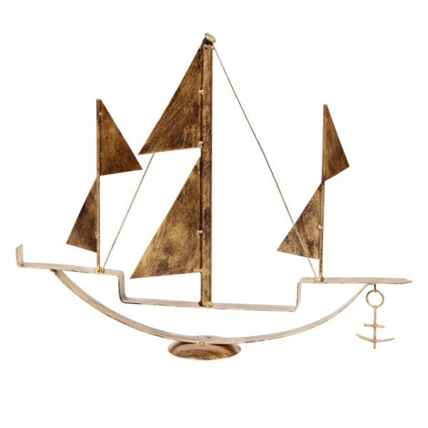 Barco Dourado em Ferro Decorativo
