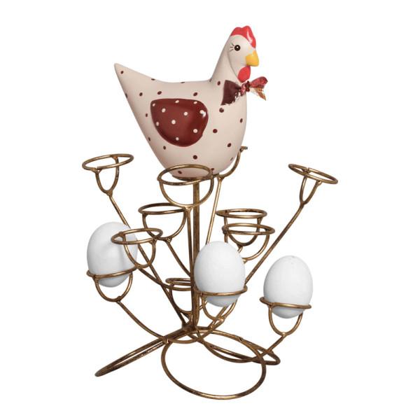 Porta Ovos Galinha em Cerâmica e Ferro