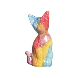 Estatueta Gato Colorido em Cerâmica M