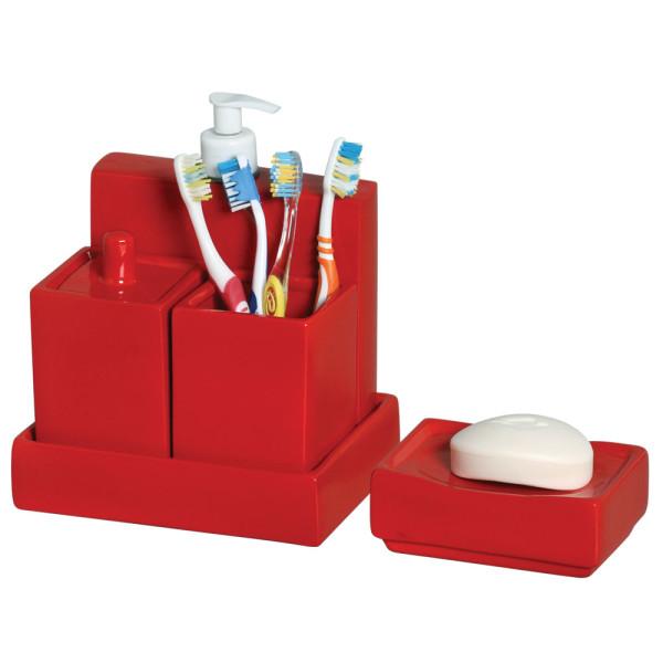 Kit para Banheiro em Cerâmica Vermelho